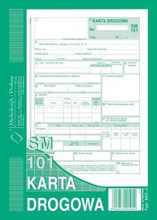 Obrazek DRUK 802-3 KARTA DROGOWA SAMOCHÓD OSOBOWY SM 101