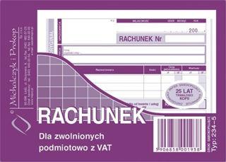 Obrazek DRUK 234-5 RACHUNEK DLA ZWOLNIONYCH PODMIOTOWO Z VAT